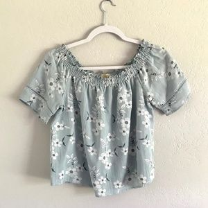 Love Notes Tops - SALE!!Love Notes Blue Floral Off the Shoulder Top